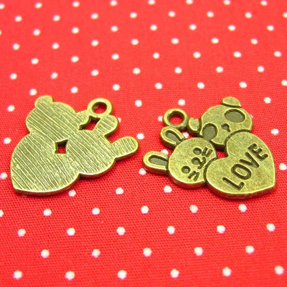 20 pcs Antique Bronze Heart Charms with Panda and Bunny 20x18mm CH0844