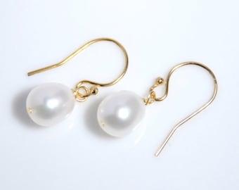 Grade AA-AAA freshwater pearl 14K gold filled earrings