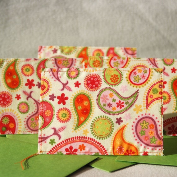 Playful Paisley - Group of 4 Fabric Cards, Size 4bar