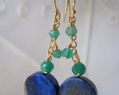 Lapis and Green Onyx earrings