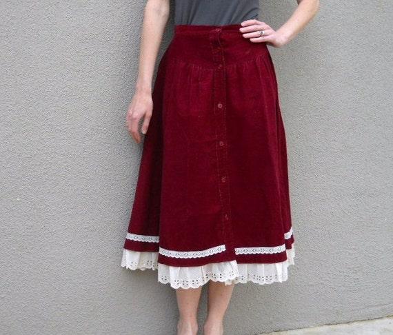 vintage 70s burgundy corduroy prairie skirt / womens xsmall small