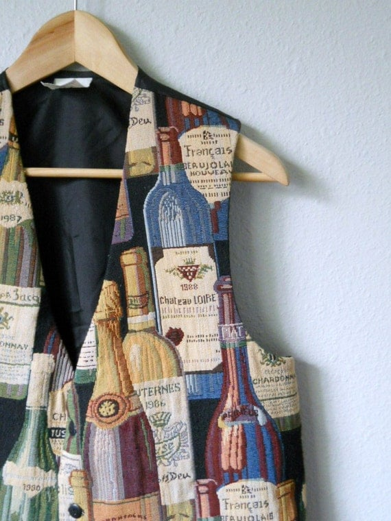 vintage 80s tapestry french wine bottle vest/ mens womens medium