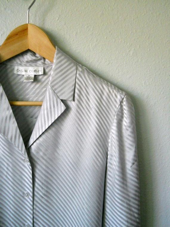 vintage 80s 90s silk gray silver blouse / womens medium