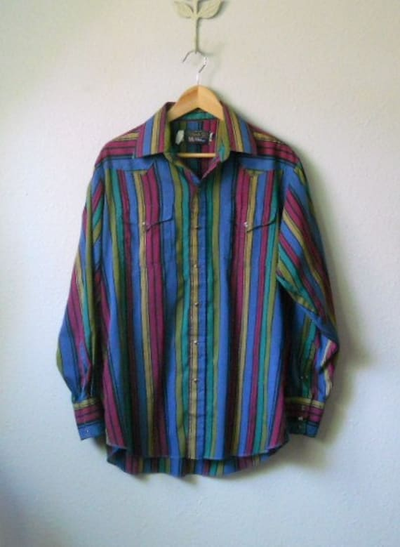 SALE vintage 70s pearl snap striped colorful country western shirt/ mens large