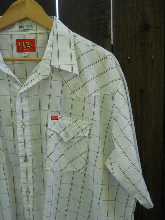 SALE vintage 70s 80s ELY white stripe pearl snap short sleeve shirt/ mens xlarge xxl