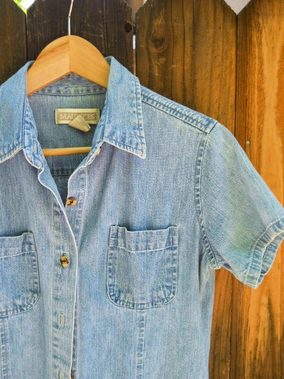 vintage 80s denim jean short sleeve button up / womens small medium