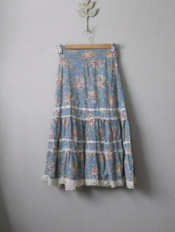 vintage 70s 80s floral prairie midi skirt/ womens xsmall small