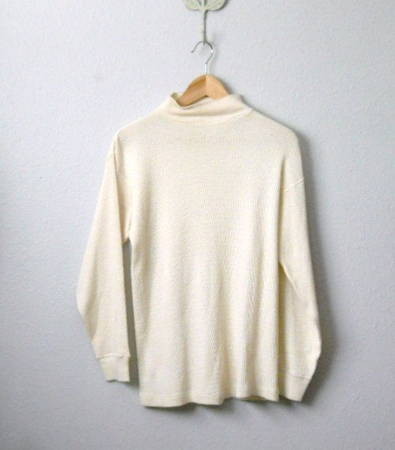 vintage 60s 70s ivory thermal long sleeve shirt / mens large