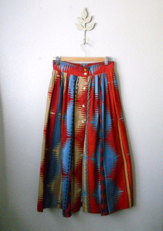 vintage 80s southwestern native american pattern skirt/ womens medium