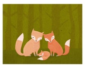 the three of us. fox family in the forest.5 x 7 art print