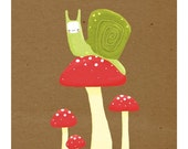snail and mushrooms. brown, green, red - 8.5 x 11 art print (MORE COLORS AVAILABLE)
