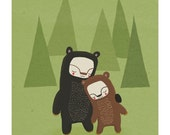 bear nursery art. forest friends in green, brown and black - LARGE 11 x 14 art print for baby, children, kids room