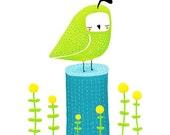 quail. green bird on a stump with flowers. green, blue, yellow - 8.5 x 11 art print