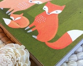 fox family nursery decor. woodland creatures in green and orange - 8x8 wood board mounted art print for children, baby, kids room