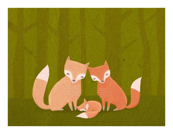 nursery art print. fox family. woodland forest friends in orange and green - LARGE 11 x 14 art print for baby, children, kids room