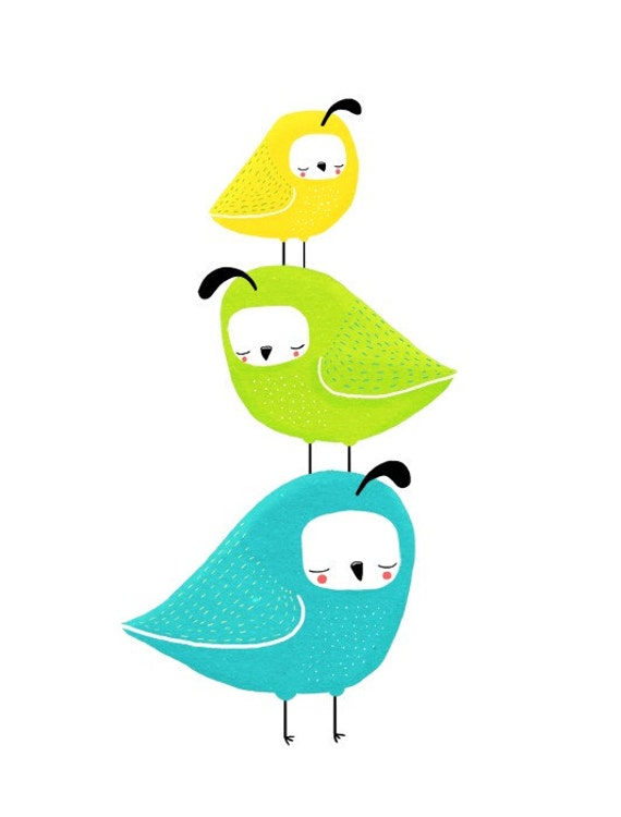 quail stack. three little birds. blue, green, yellow - LARGE 11 x 14 art print (MORE COLORS available)