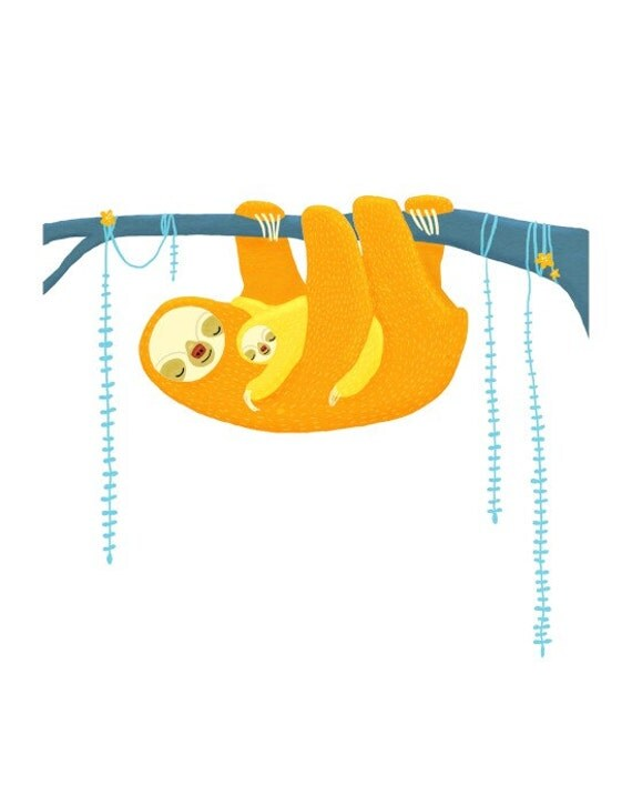 jungle nursery art. sloth animals in orange, yellow, blue on white. 8.5 x 11 art print for baby, children, kids room