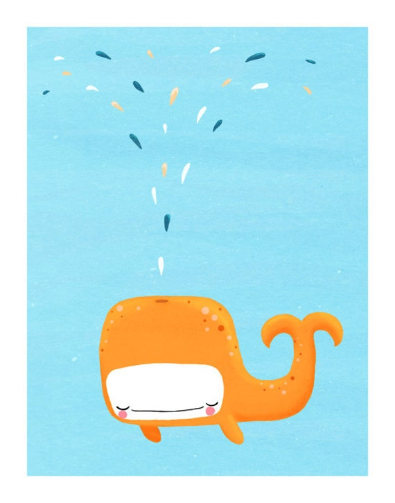 whale nursery art. cute orange sea creature on blue. LARGE 11 x 14 art print for kids, baby (MORE COLORS available)