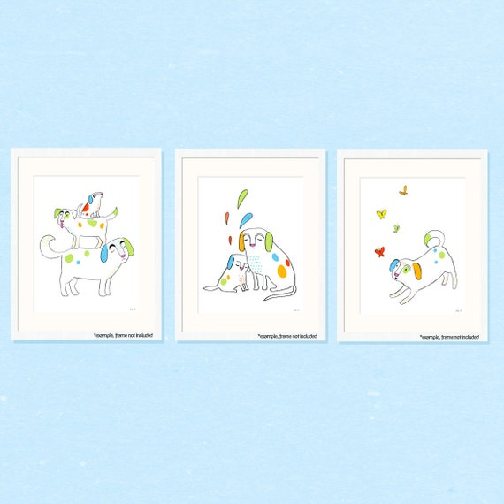 dog nursery art set - simple black and white doggies with green, blue, red, orange - three 8.5 x 11 prints for baby, children, kids room