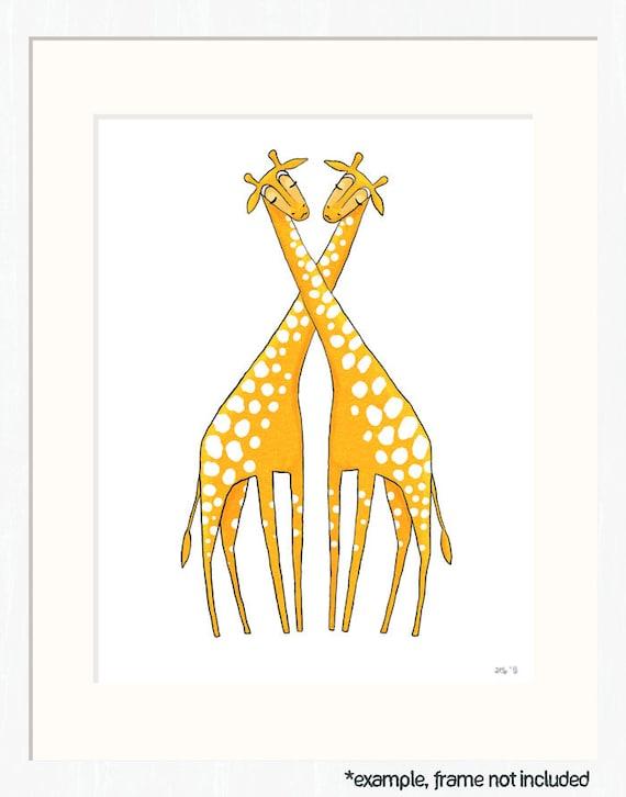 giraffe nursery art - two marigold giraffes on white - yellow/orange 8.5x11 art print for children, baby (MORE COLORS)