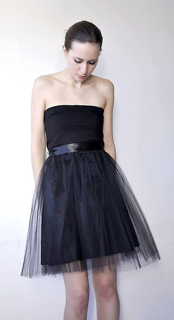 Little black dress with tulle skirt