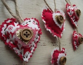 Red and White Christmas Decorations Shabby Chic Set of Three - Gabriel