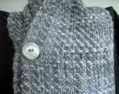 Stormy Grey Woven Buttoned Scarf
