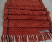 Tangerine  and Coral Linen and Cotton Woven Table Runner