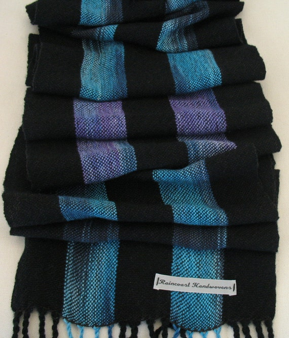 Bright Blue and Purple Hand-Painted Tencel and Merino Scarf
