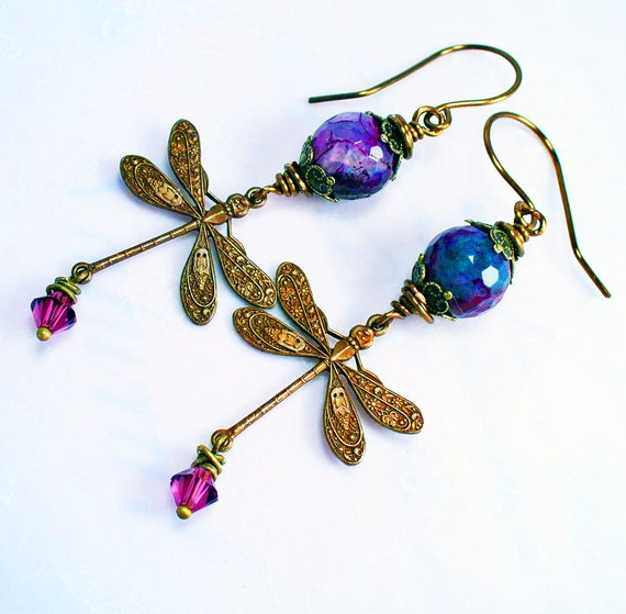 Purple Faceted Fire Agate & Vintaj Brass Dragonfly Earrings w Crystal Charm