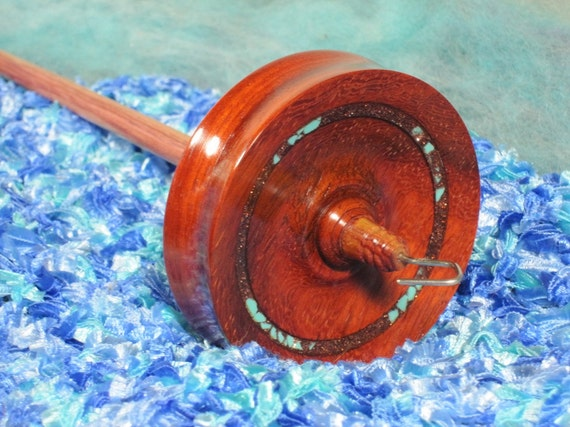 Paduak & Tulipwood Drop Spindle - Copper InLace, Turquoise Nuggets