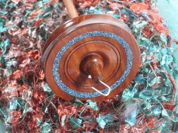 Beautiful Quina Drop Spindle with Blue & Gray InLace