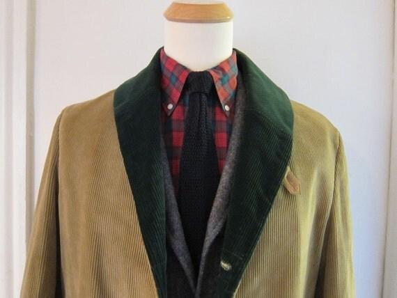 1960s Tan Corduroy Buffer Coat Green Shawl Collar 40