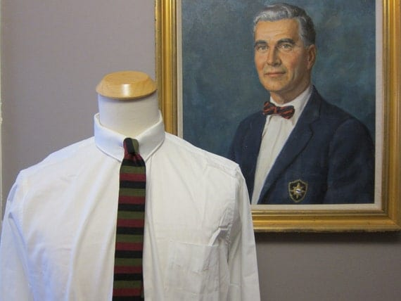 1960s van heusen white poplin tab collar shirt 16 33 for Snap tab collar shirt