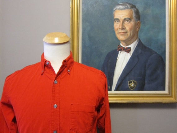 1960s Red Cotton Pinwale Corduroy Sport Shirt Small 14.5