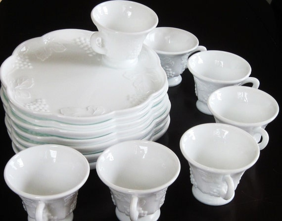 Vintage White Milk Glass Snack Sets Plates with Cups Grapes