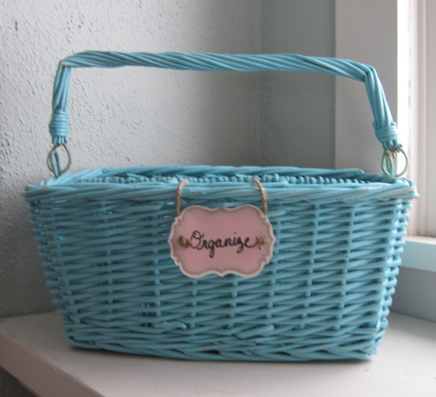 Aqua blue divided basket with handle for organizing in 2011 - Divided wicker basket ...