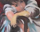 RESERVED for Corinna - Portrait of a Child - Original Oil Painting