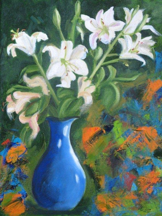 RESERVED for Carol - Easter Lily Exuberance - Original Oil Painting