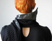 SALE Black Gun Metal Steel Collar Scarf , knit made from merino wool, sample