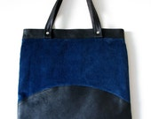 Black & Bright Blue Agent Shoulder Bag, Eco Design, made from recycled leather and corduroy