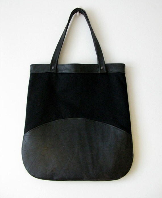 Agent Leather Shoulder Bag, Worn Leather Surface, Eco Design, made from recycled leather and cotton fabric