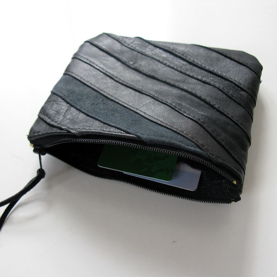 Diagonal Zero Waste Leather Purse/Wallet, Eco Design, made from recycled leather scraps