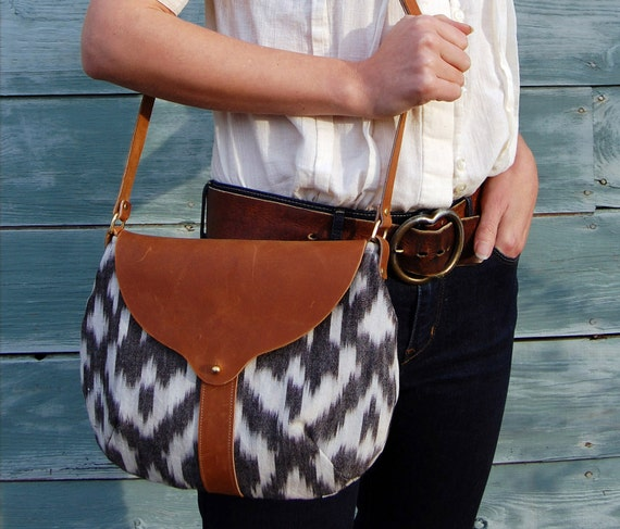The Taplin Purse // Black and White Ikat and Duck Cloth with Cognac-colored Leather Closure and Strap