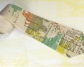 "Trendy mens necktie ""Yellow Summer Rain"". Capuccino color necktie with street art motives for graffiti fan."