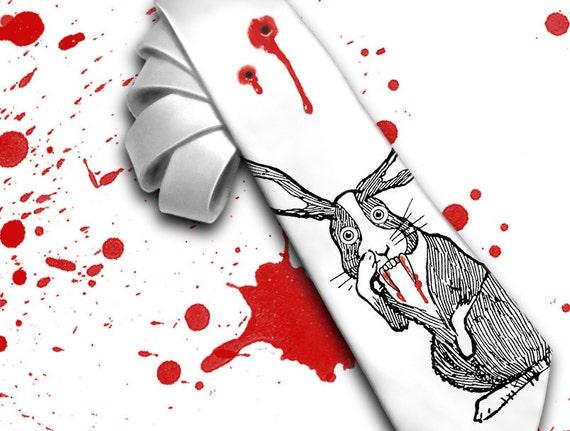 "Horror movie necktie ""Bloody  Rabbit  Monster"" for your Mad Men. Halloween and scarry movie necktie."
