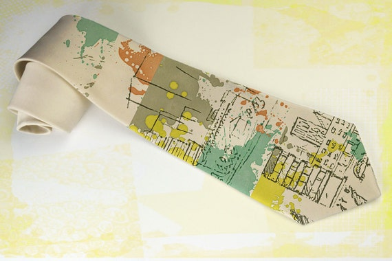 "Trendy mens necktie ""Yellow Summer Rain"". Capuccino color necktie with street art motives for graffiti fan."