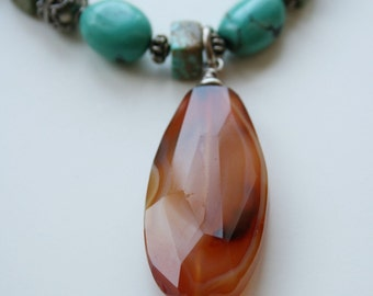 Turquoise & Carnelian necklace PRICE REDUCED
