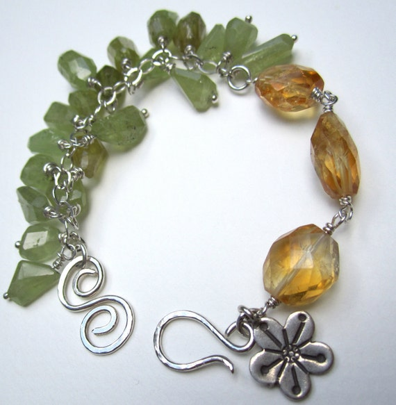 Asymmetrical and Feminine Wire Wrapped Green Garnet Citrine Sterling Silver Bracelet