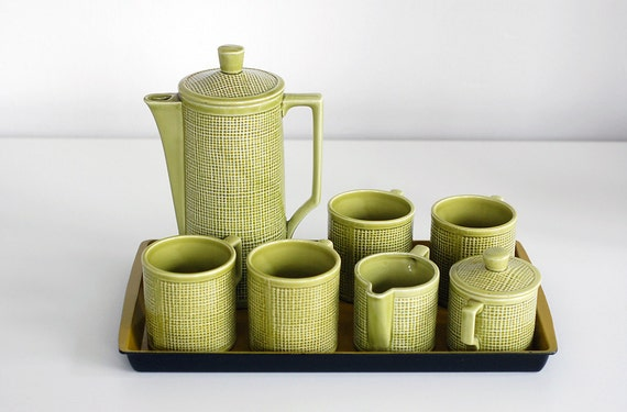 SALE - Royal Sealy Thatched Tea Set with Tray